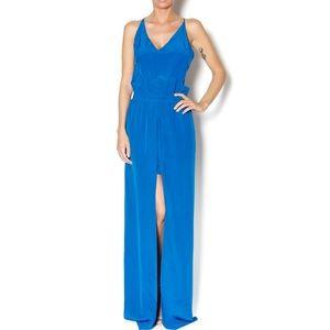 KARINA GRIMALDI royal blue maxi silk dress